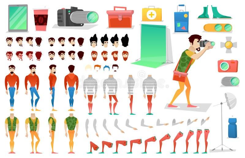 Fotograf Character Creation Constructor mannen i olikt poserar Manlig person med framsidor, armar, ben, frisyrer royaltyfri illustrationer
