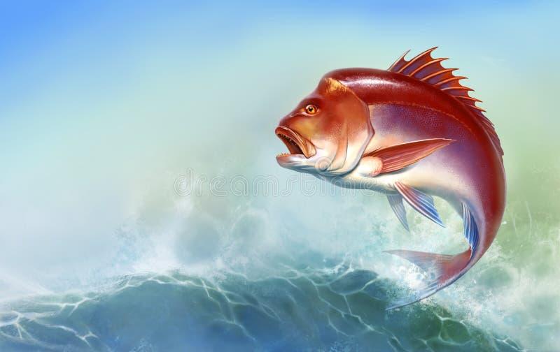 Fotograf czerwona duża ryba skacze z fal ilustracji