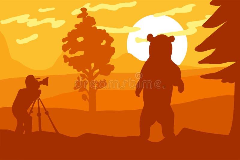 Fotograf fotografii niedźwiedź w naturze ilustracji