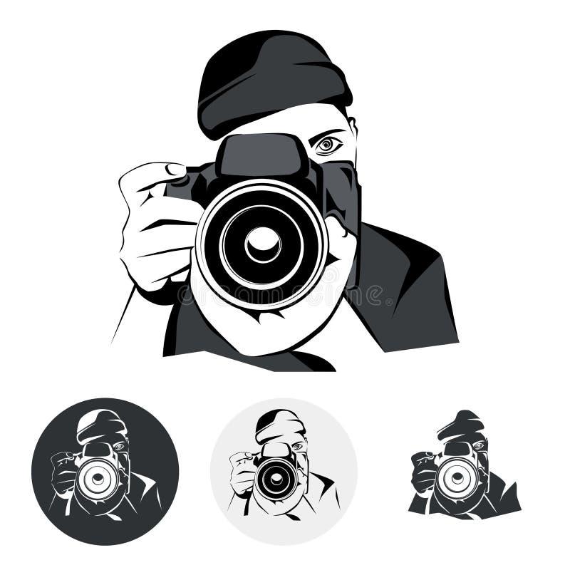 Fotograf, grafika stylizował rysunek, wektorowa ilustracja royalty ilustracja