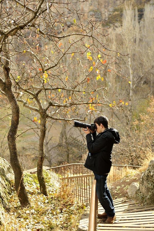 Fotograf in Ihlara-Tal stockfotos