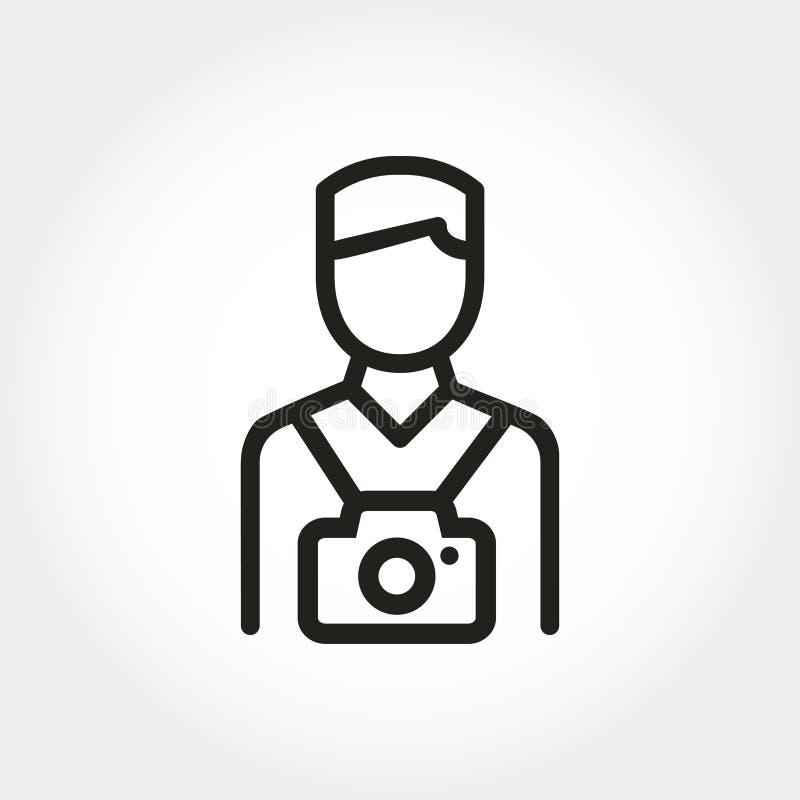 Fotograf ikona Kreskowy mieszkanie styl Turysta z kamerą ilustracja wektor