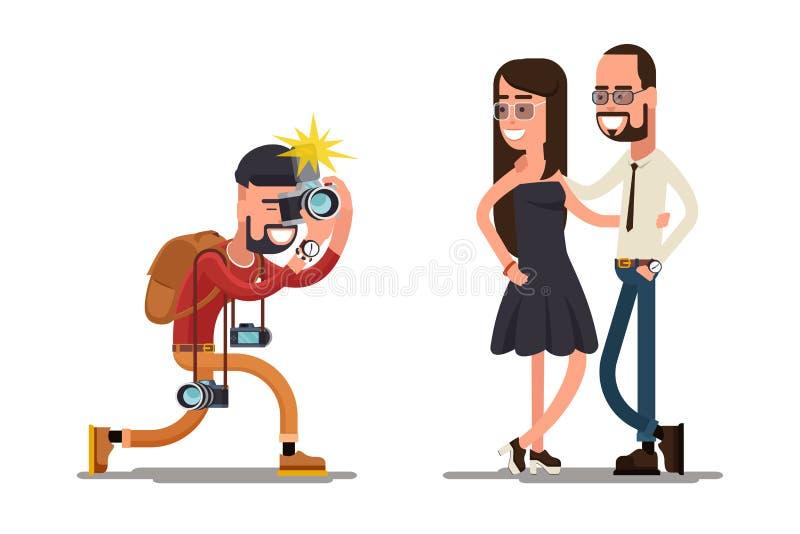 Fotograf macht Foto von jungen Paaren stock abbildung