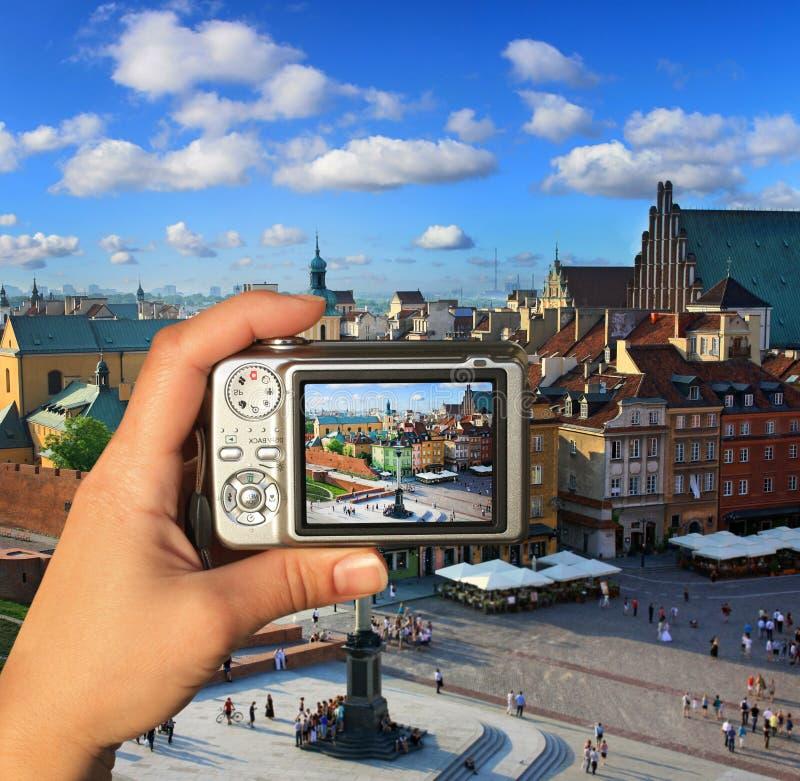 Fotograf macht Foto von Warschau stockfotografie