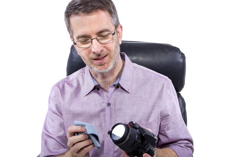 Fotograf med utrustning arkivbilder