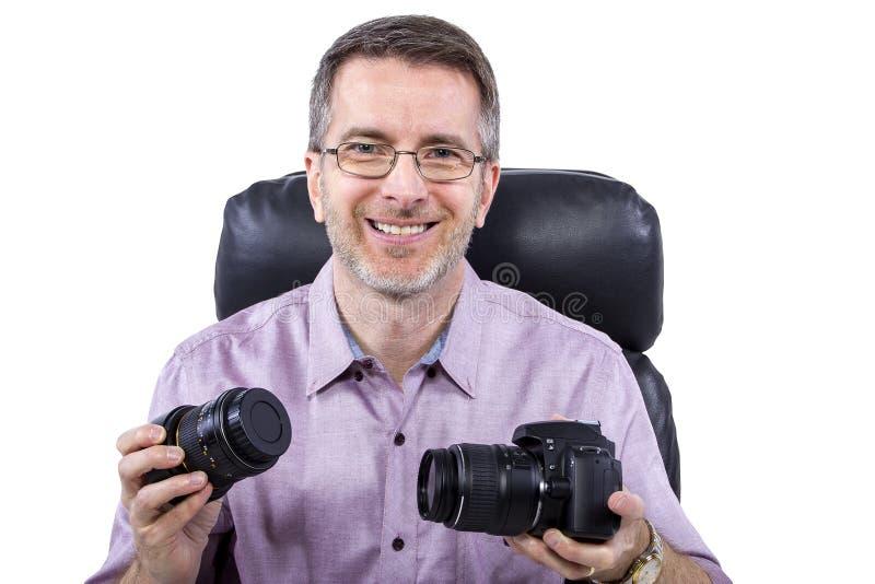 Fotograf mit Ausrüstung stockfotos