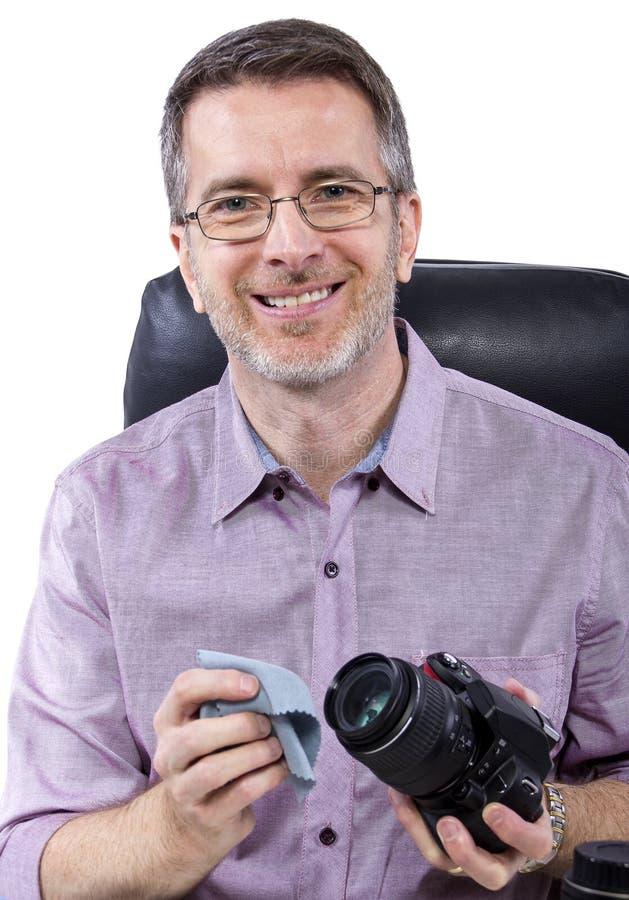 Fotograf mit Ausrüstung lizenzfreies stockbild