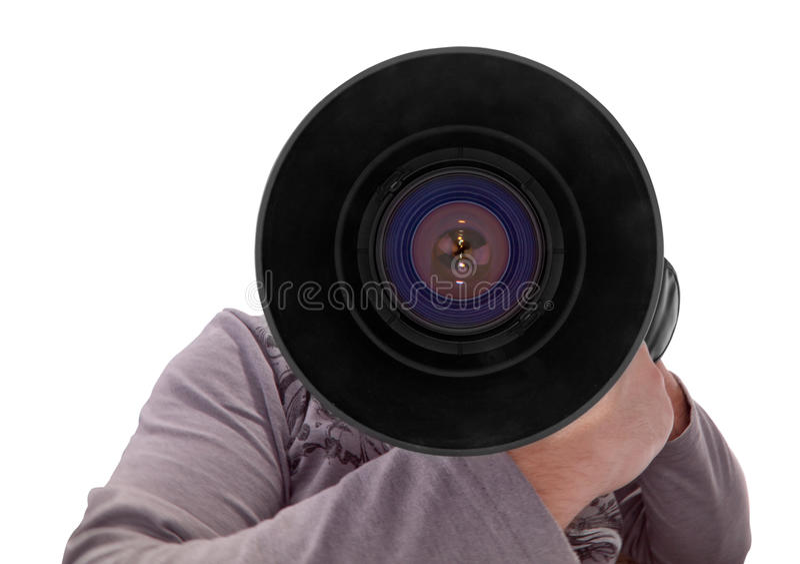 Fotograf mit großem Objektiv stockbilder