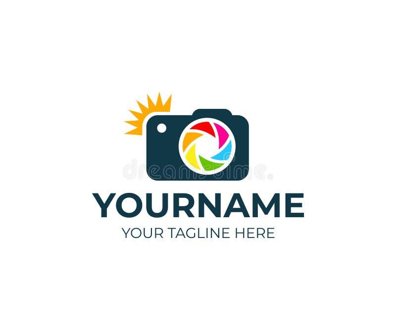 Fotograf och kamera med exponeringen och linsen, logomall Fotografistudio och fotografi, fotovektordesign royaltyfri illustrationer