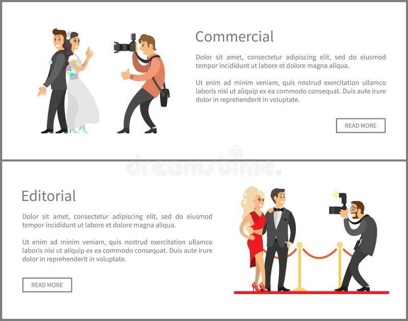 Fotograf- och Paparazzionline-baneruppsättning royaltyfri illustrationer