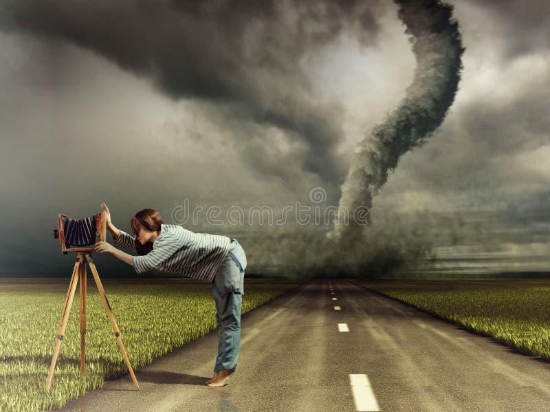 Fotograf och tromb stock illustrationer