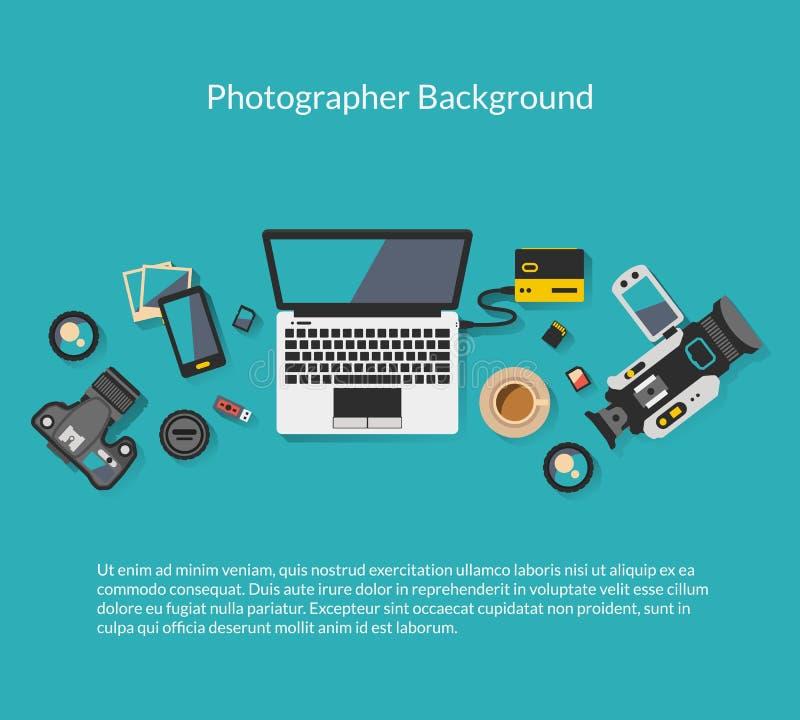 Fotograf- och videographerworkspacevektor royaltyfri illustrationer
