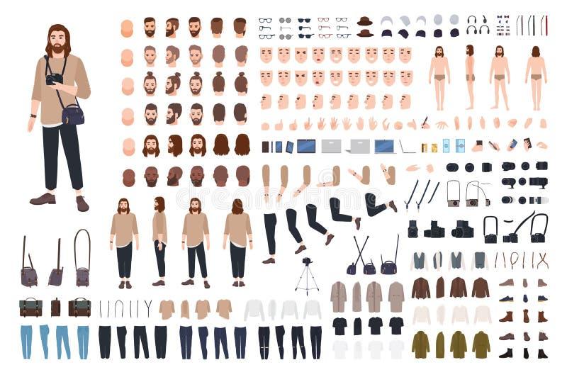 Fotograf- oder Fotojournalisterbauerausrüstung oder Avatarageneratorsatz Bündel Körperteile, zufällige Kleidung lizenzfreie abbildung