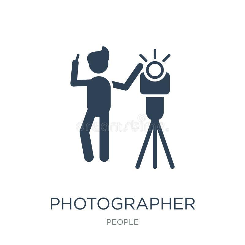 fotograf pracująca ikona w modnym projekta stylu fotograf pracująca ikona odizolowywająca na białym tle Fotografa działanie ilustracji