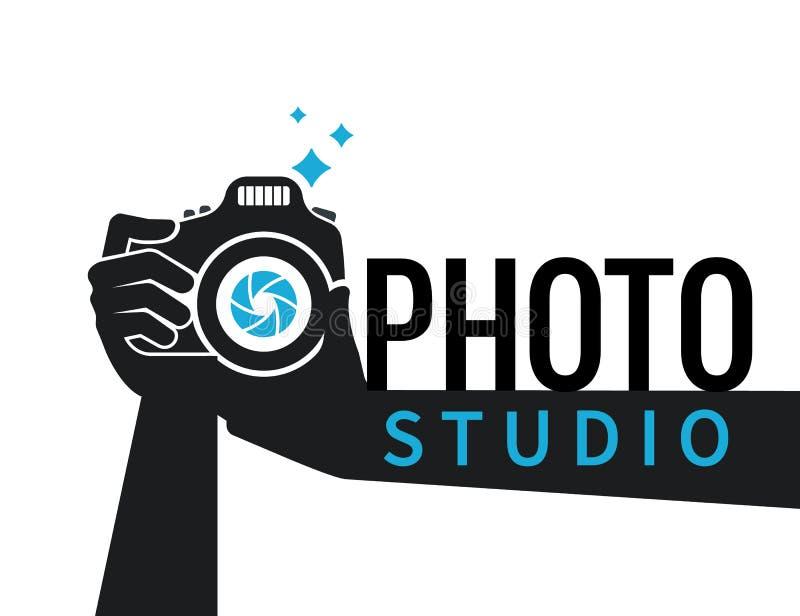 Fotograf ręki z kamery płaską ilustracją dla ikony lub loga szablonu ilustracji