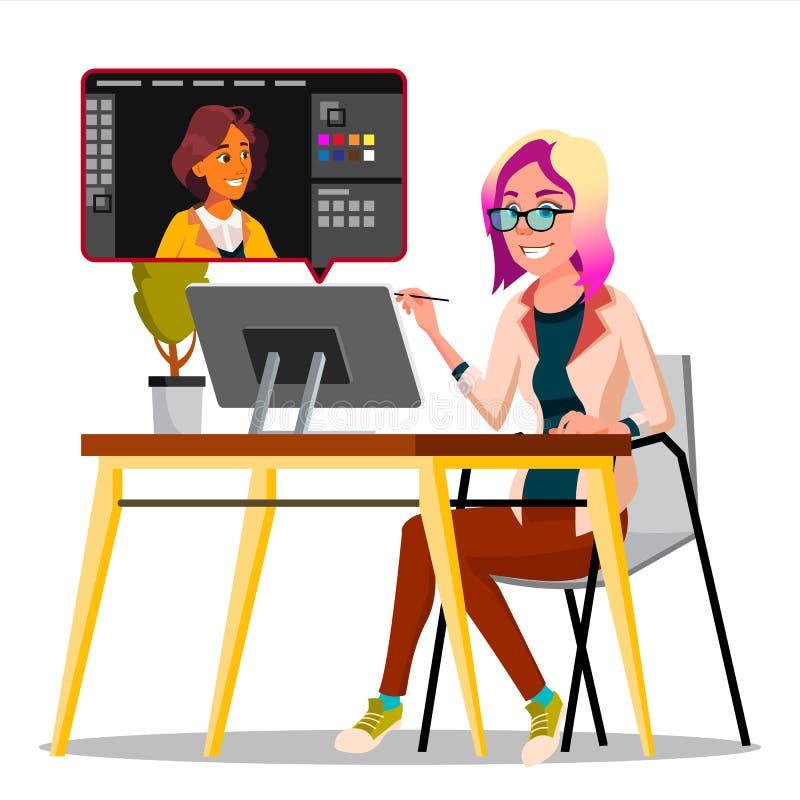 Fotograf Retouching Photo Vector Kvinna som arbetar med grafisk programvara Frilans- begrepp isolerad knapphandillustration skjut vektor illustrationer