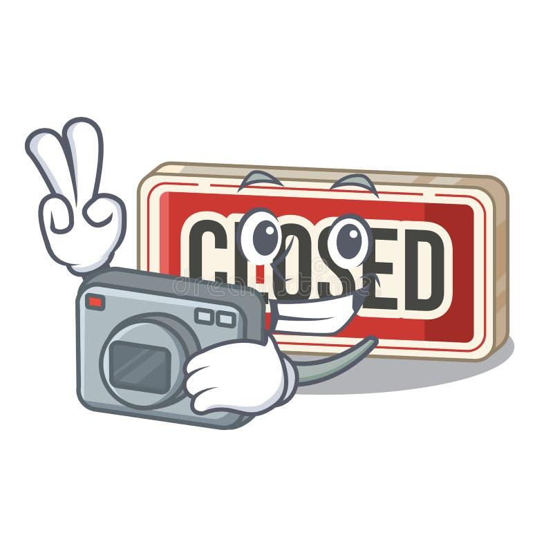 Fotograf schloss das Zeichen, das zur Karikaturtür befestigt wurde stock abbildung