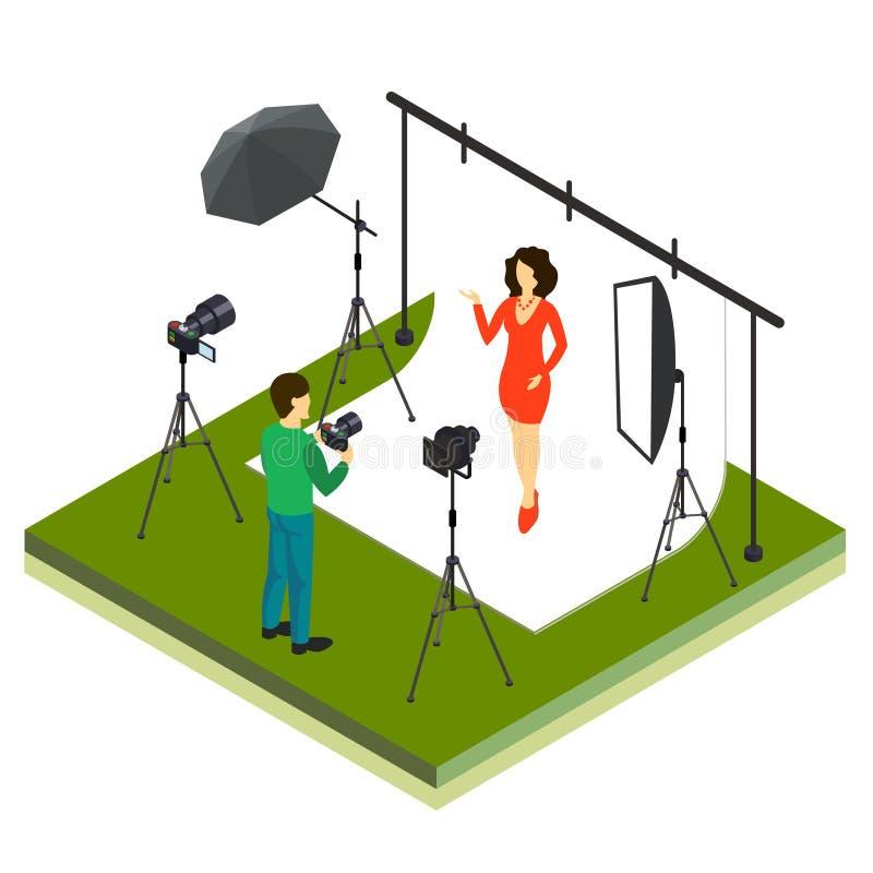Fotograf Shooting Model im Studio lizenzfreie abbildung