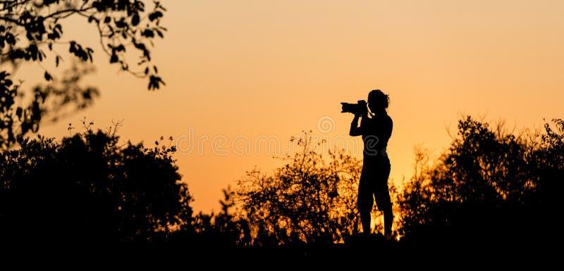 Fotograf Silhouette arkivbild