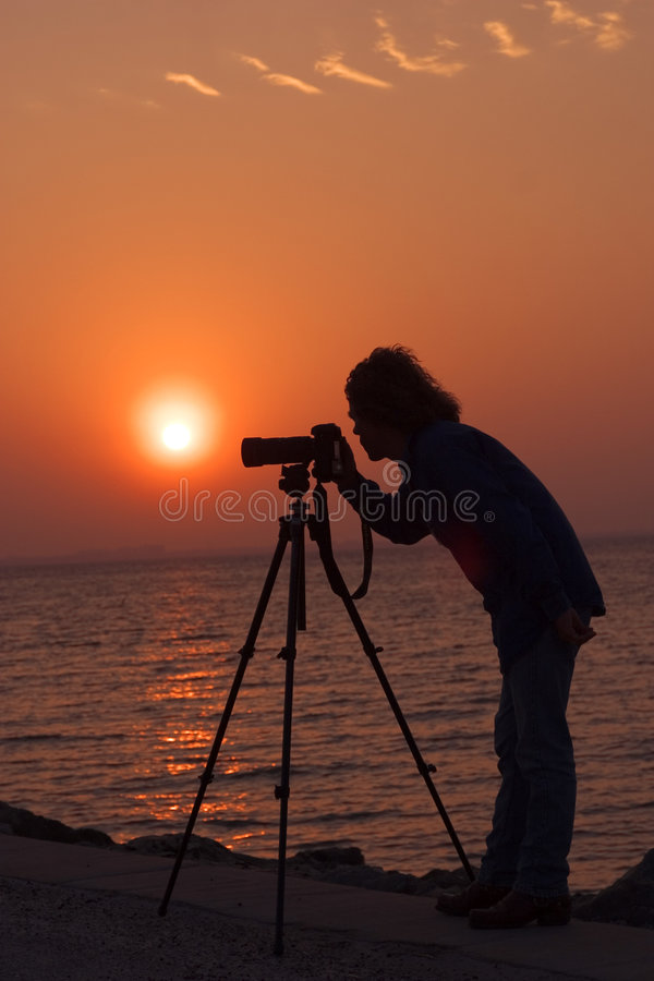 Fotograf-Sonnenaufgang lizenzfreie stockfotos
