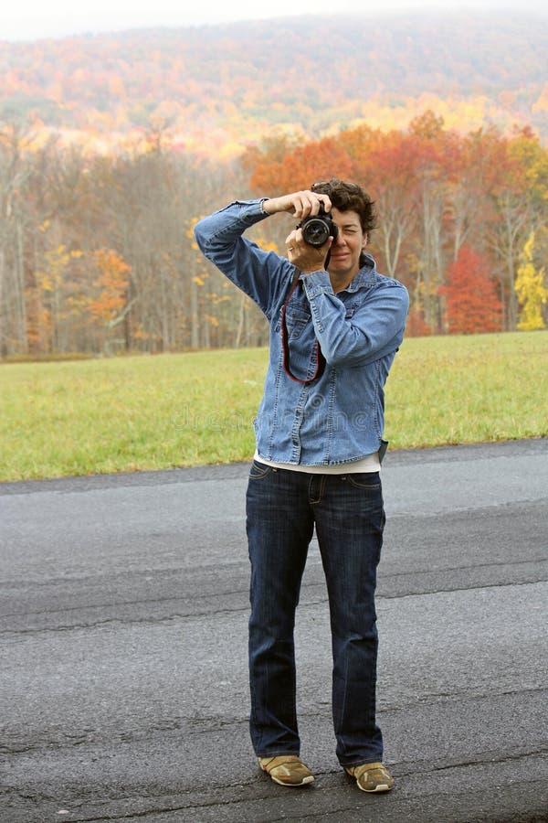 Fotograf am Spiel stockbilder