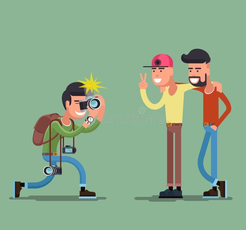 Fotograf strzelaniny ludzie ilustracja wektor