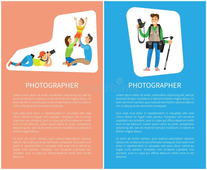 Fotograf-Taking Pictures Happy-Familien-Plakate vektor abbildung