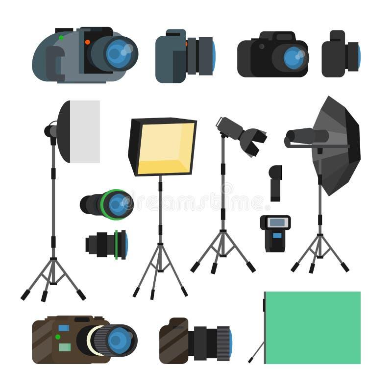 Fotograf Tools Set Vector Fotografie-Gegenstände Foto-Ausrüstungs-Gestaltungselemente, Zubehör Moderne Digitalkameras stock abbildung