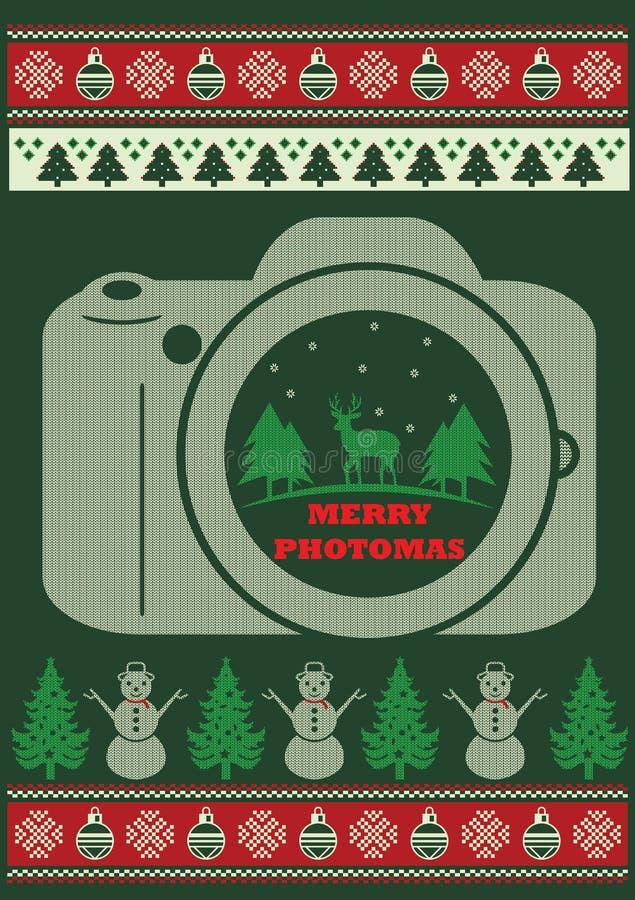 Fotograf-Ugly Christmas Funny-Art-T-Shirt stock abbildung