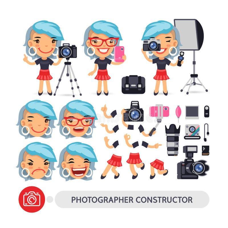 Fotograf Woman Character Constructor royaltyfri illustrationer