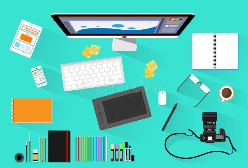 Fotograf Workplace Desk för grafisk formgivare royaltyfri illustrationer