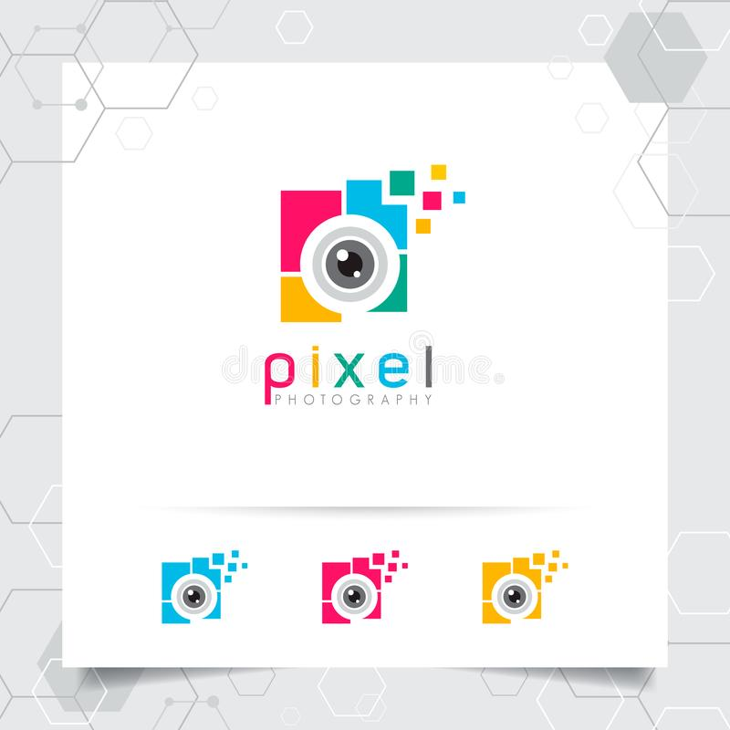 Fotograf?a y dise?o del logotipo de la foto con concepto de vector colorido del icono de la lente de c?mara para el fot?grafo, la stock de ilustración