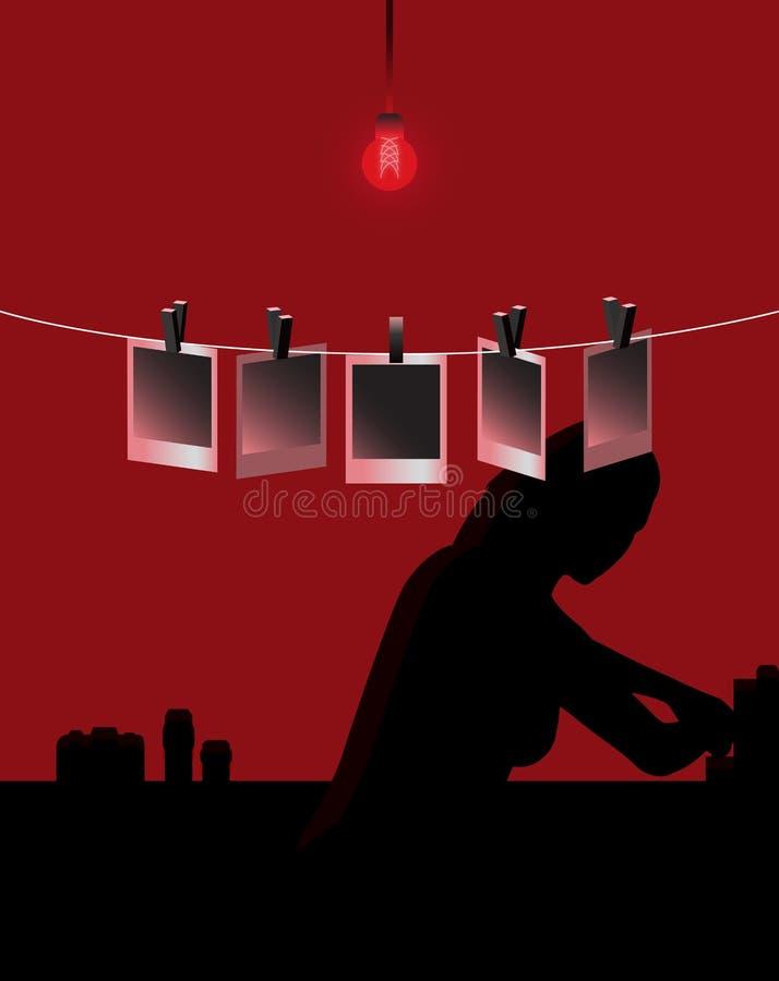 Fotografa Działanie w Darkroom Polaroidu Fotografiach ilustracji