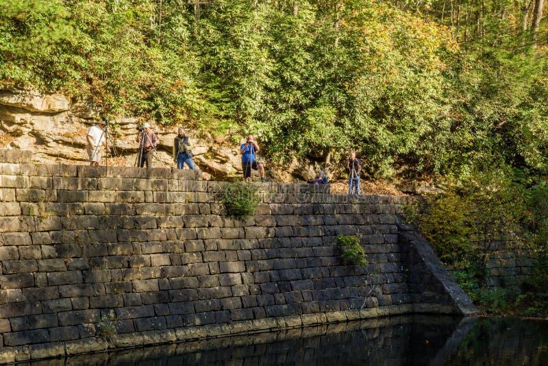 Fotografen am Babcock Nationalpark, West Virginia, USA lizenzfreies stockfoto