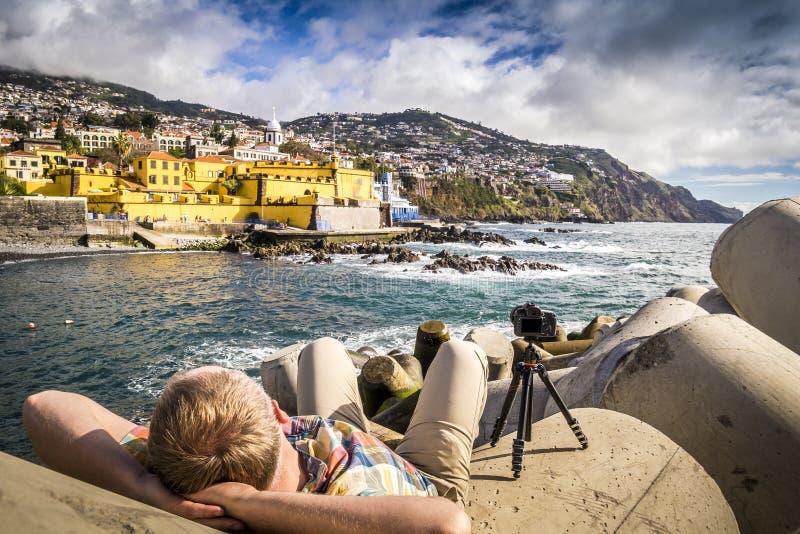Fotografera en gammal slott i Funchal, Portugal arkivfoto