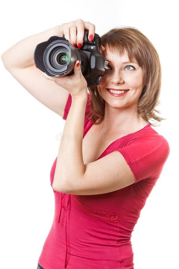 Fotografera för ung kvinna arkivbilder