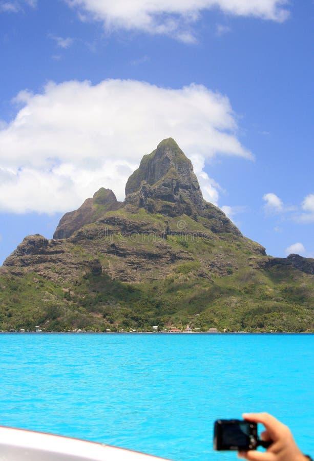 Fotografera paradis i Bora Bora arkivbilder