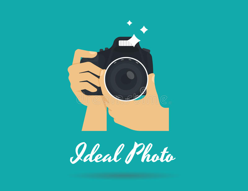 Fotografhände mit flacher Illustration der Kamera für Ikone oder Logoschablone lizenzfreie abbildung