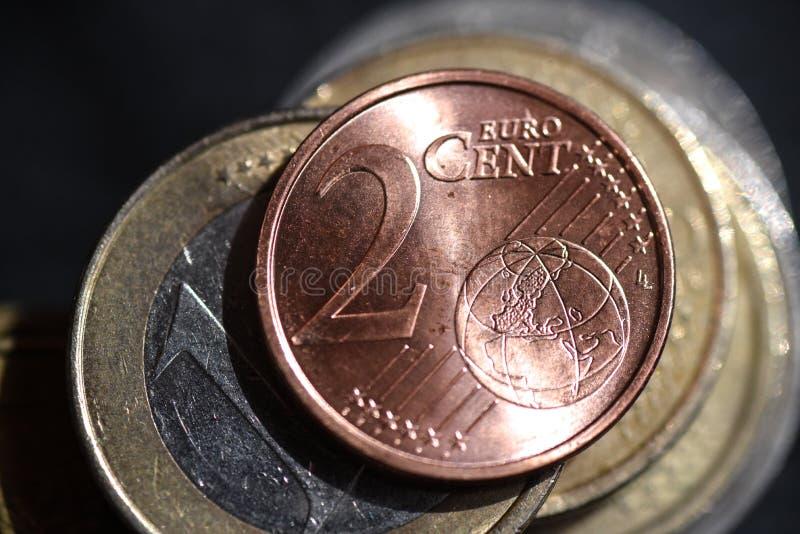 Fotografi för makro för två mynt för eurocent royaltyfri fotografi