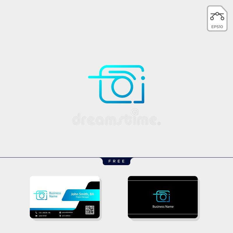 fotografi fotograf, illustration för vektor för kameralogomall, fri affärskortdesign royaltyfri illustrationer