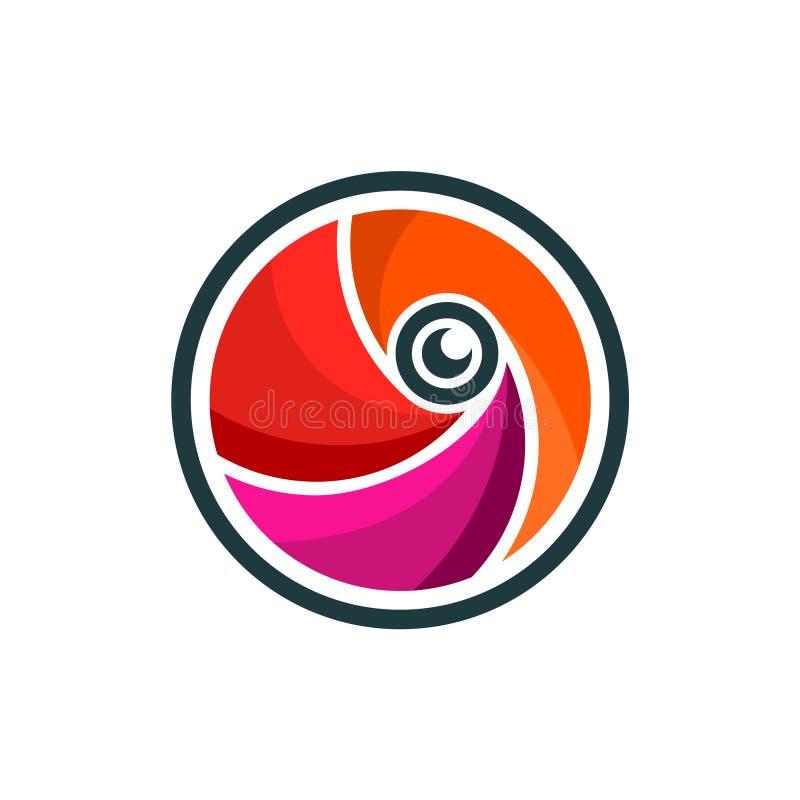 Fotografi Logo Symbol för öppning för cirkelslutarekamera stock illustrationer