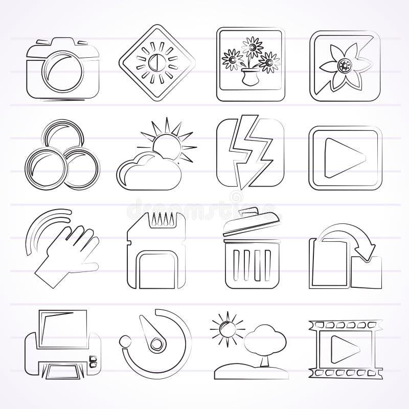 Fotografi- och kamerafunktionssymboler royaltyfri illustrationer