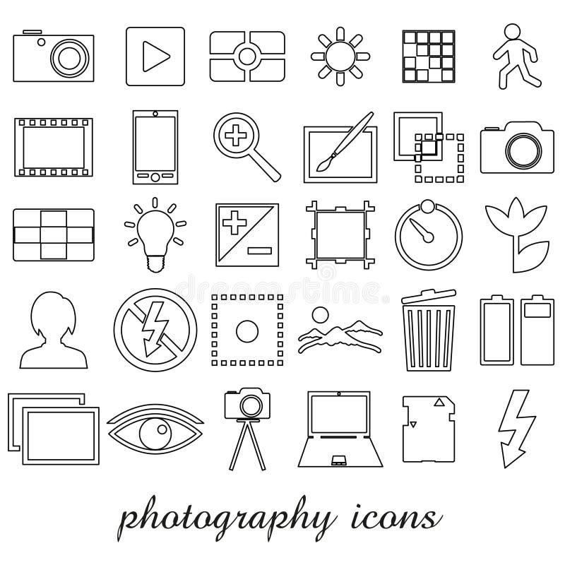 Fotografi och symboler för översikt för kameratemasvart enkla ställde in eps10 vektor illustrationer