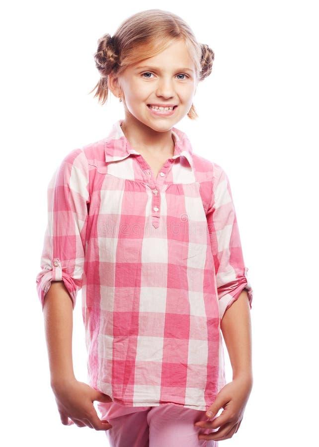 Fotografia śmiać się pięknej szczęśliwej dziewczyny patrzeje kamery isolateÐ ² na bielu fotografia stock