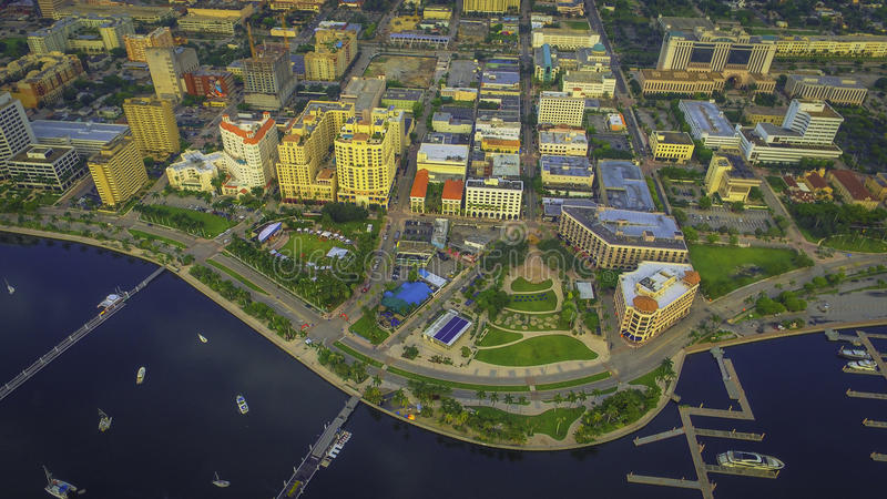 Fotografia aérea de West Palm Beach do centro foto de stock