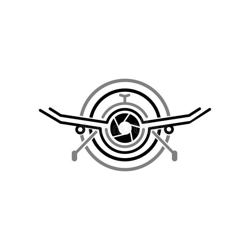 Fotografia aérea Logo Design Template da came do zangão Tecnologia Logo Vetora Icon da fotografia da câmera do zangão ilustração stock