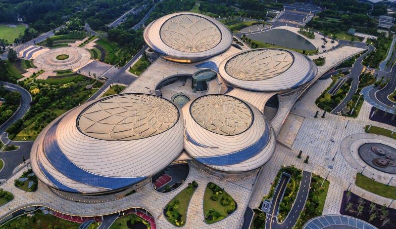 Fotografia aérea - teatro grande de Jiangsu imagens de stock