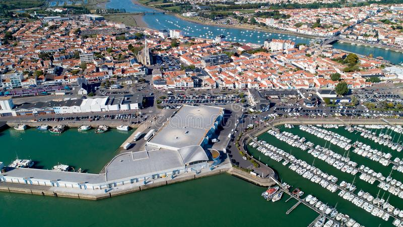 Fotografia aerea del san Gilles Croix de Vie in Vendee fotografia stock