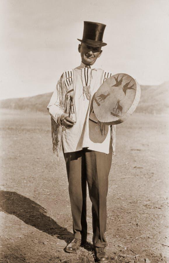 Fotografia antica di un uomo in cappello superiore immagini stock
