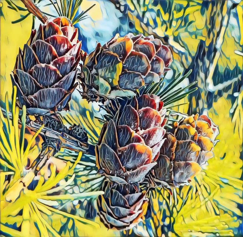Fotografia artística de cones verdes em larch tree branch sob luz solar no distrito de Vladimir fotografia de stock royalty free